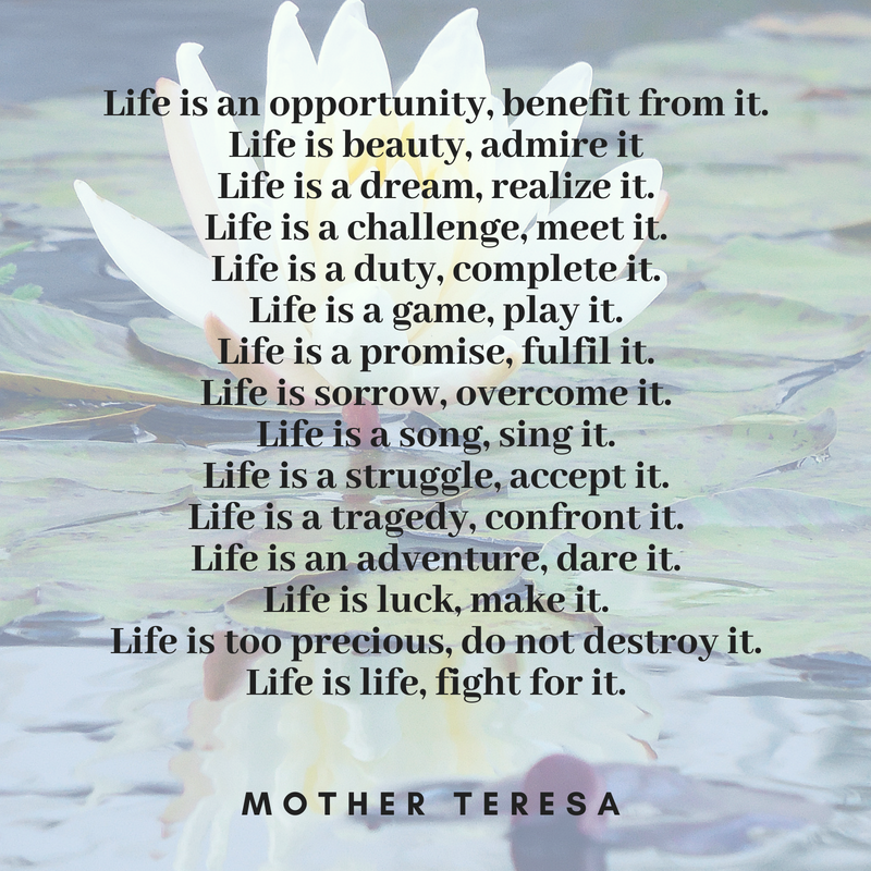 Mother Teresa's Poem On Celebrating Life - Pascale Gibon