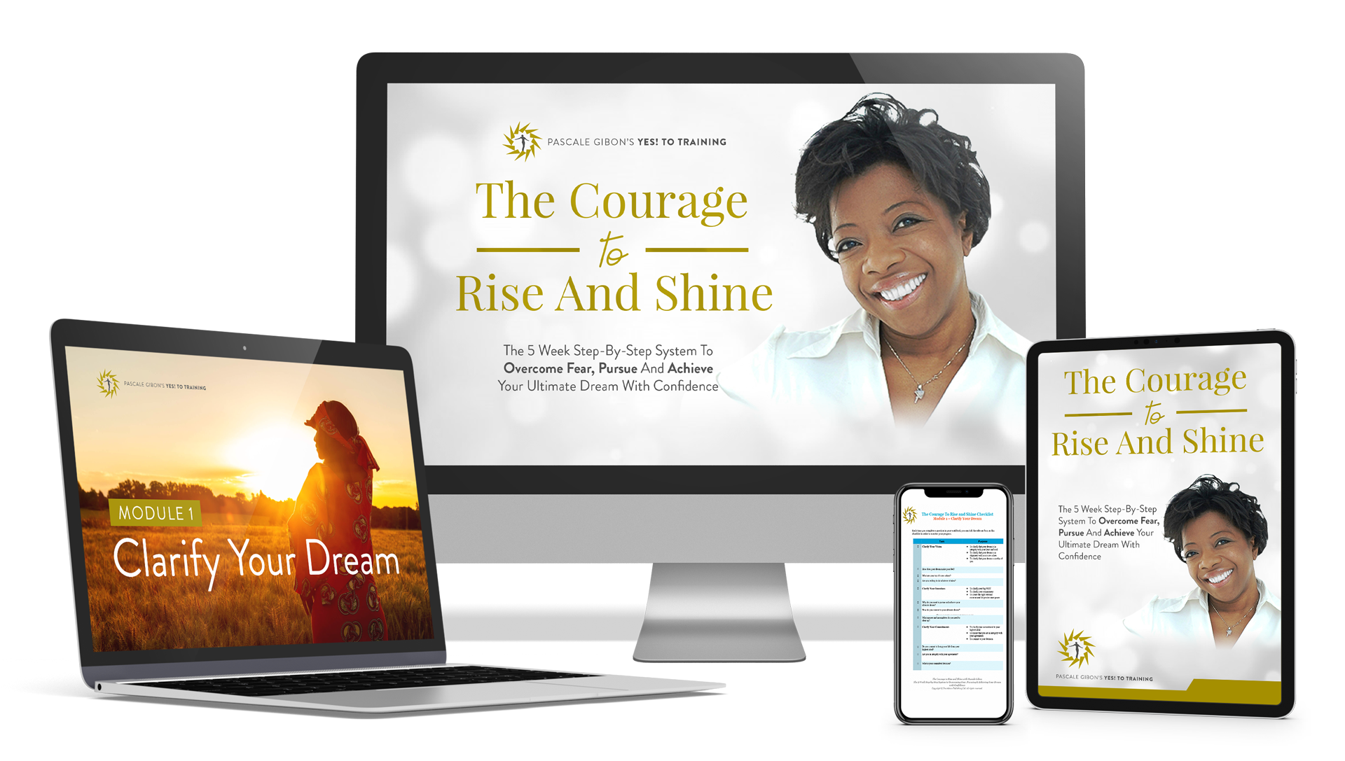 The Courage-To-rise-And-Shine. This home study course is a 5 week Step by Step System To Overcome Fear, Pursue and Achieve Your Ultimate Dream With Confidence with Pascale Gibon.