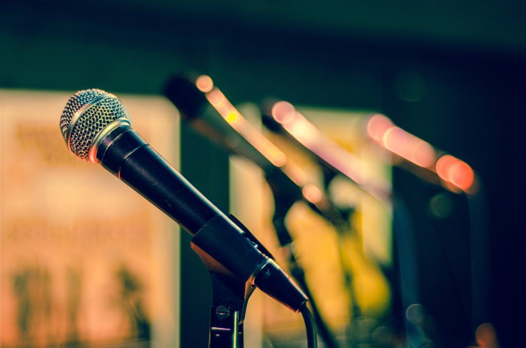 A row of microphones