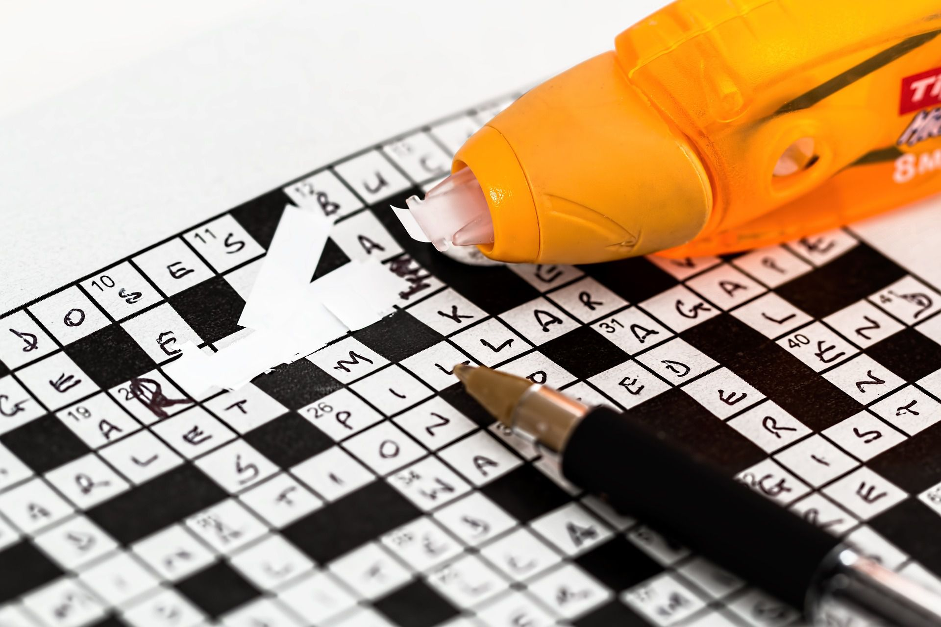 Mistake on crossword puzzle covered up by white-out