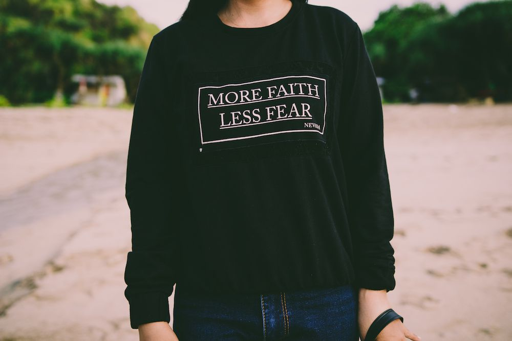 Canva - More Faith Less Fear White Sweater