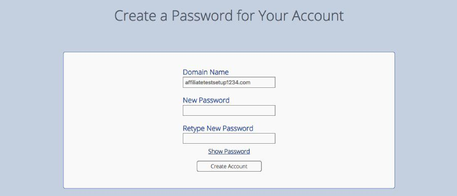 bluehost domain create password