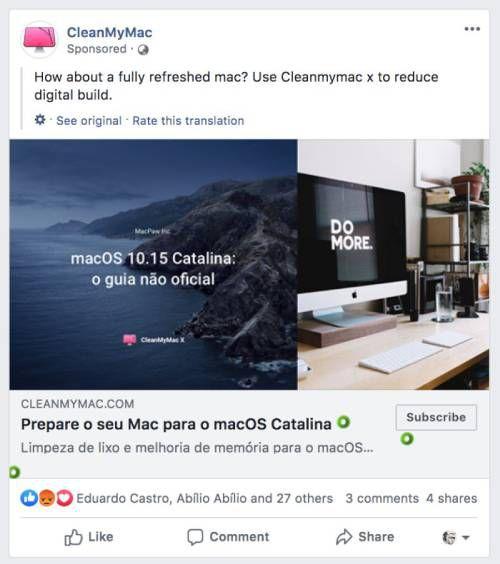 weird facebook ad - clean my mac
