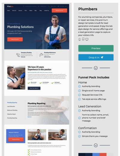 landing page examples plumber template