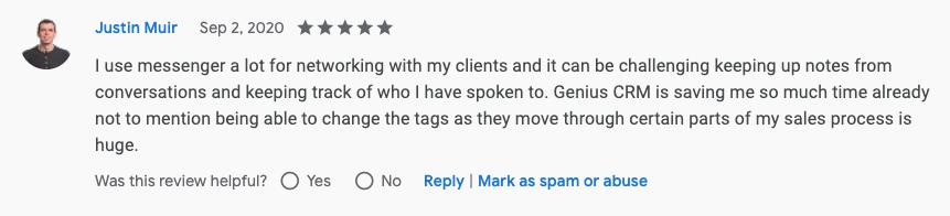 Justin Muir Genius Messenger CRM Google Review