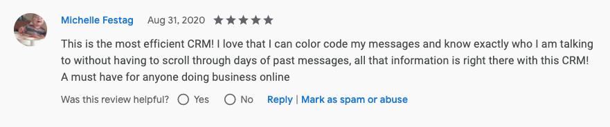 Michelle Festag Genius Messenger CRM Google Review
