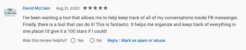 David Mcclain Genius Messenger CRM Google Review