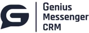 Black and white logo of Genius Messenger CRM