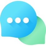 Icon of blue and green messenger bubbles for Genius Messenger CRM