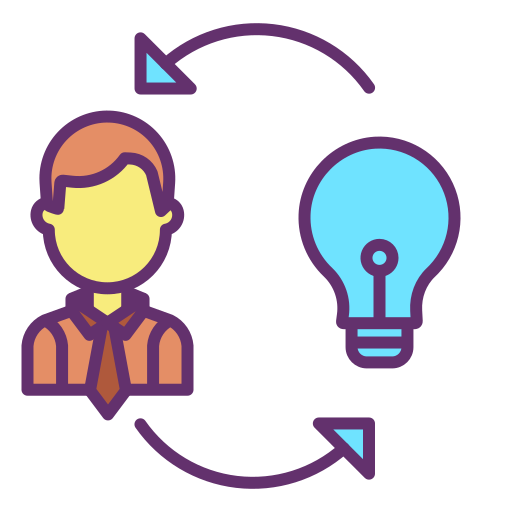 Icon of man and lightbulb with two rotating arrows for Genius Messenger CRM