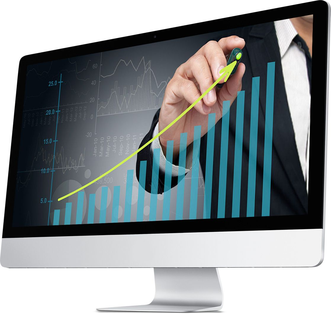 Computer monitor with a man in a suit drawing a scale for Genius Messenger CRM