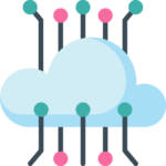 Icon of a blue cloud with data lines going in and out for Genius Messenger CRM