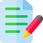 Icon of blue note pad with red pencil and green lines for Genius Messenger CRM