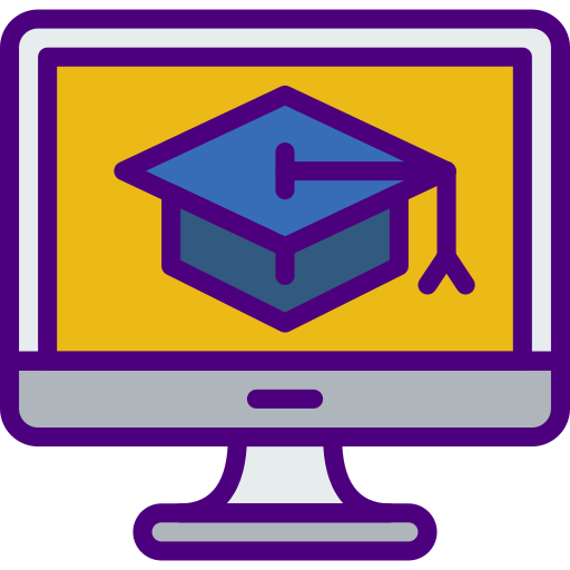 Icon of computer screen with image of a blue graduation hat for Genius Messenger CRM
