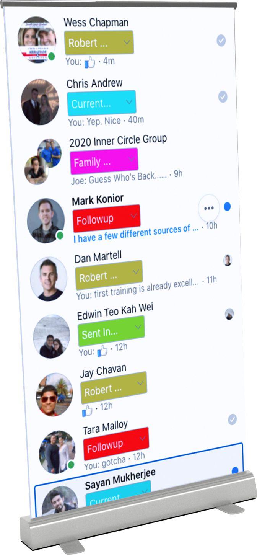 Stand up presentation of Genius Messenger CRM tags on Facebook Messenger